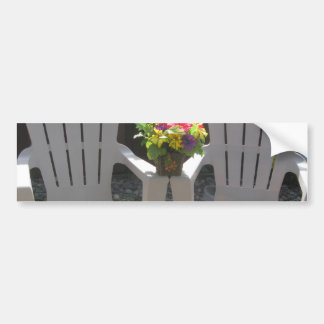 Flowers and Adirondack Chairs Bumper Sticker