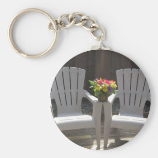 Flowers and Adirondack Chairs Keychain