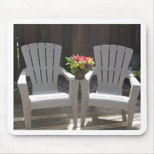 Flowers and Adirondack Chairs Mouse Pad