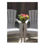 Flowers and Adirondack Chairs Postcard