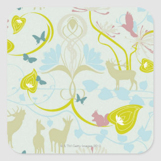 Flowers and Animals Square Sticker