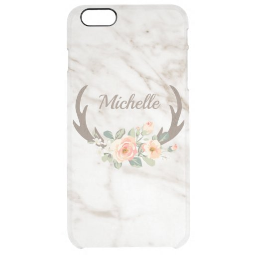 Flowers And Antlers Clear iPhone 6 Plus Case