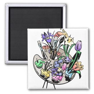 FLowers and Artist Palette Refrigerator Magnets
