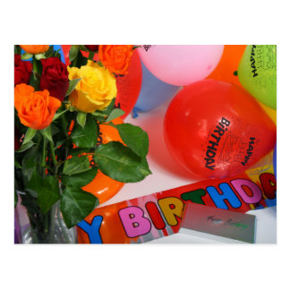 Flowers and Balloons Birthday Card Postcard