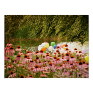 Flowers and Balloons Poster