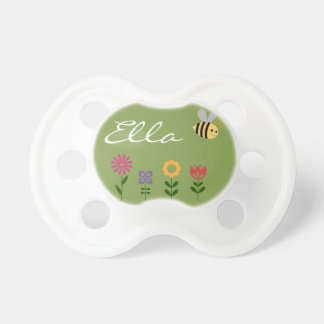 Flowers and Bee Garden Personalized Pacifier BooginHead Pacifier