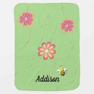 Flowers and Bees on Lime Swaddle Blanket