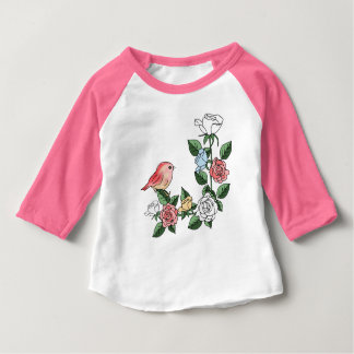 flowers and bird baby T-Shirt