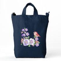 flowers and bird duck bag
