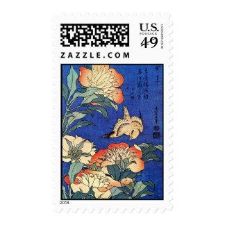 Flowers and Bird, Hokusai Postage