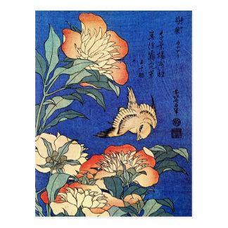 Flowers and Bird, Hokusai Postcard
