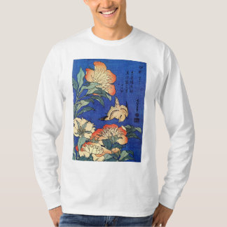 Flowers and Bird, Hokusai T Shirt