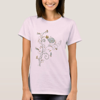 Flowers and Bird print for women and girls T-Shirt