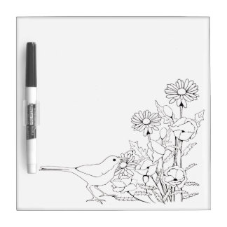 Flowers and Bird to Color, Flower, Outline Art Dry Erase Whiteboards