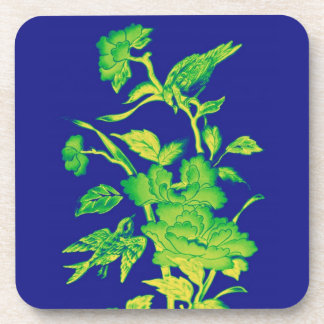 Flowers and Birds,Graphic Design Blue,Yellow,Green Beverage Coaster