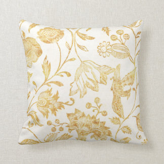Flowers and Birds Pillow in Vintage Gold