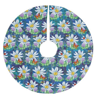 Flowers and bugs pattern brushed polyester tree skirt