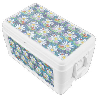 Flowers and bugs pattern chest cooler