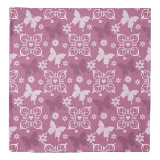 Flowers and Butterfiles Berry Wine (4).jpg Duvet Cover