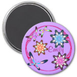 Flowers and butterflies 3 inch round magnet