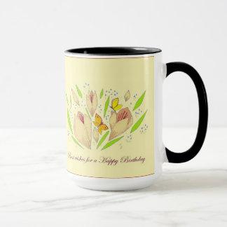 Flowers and Butterflies Birthday Mug