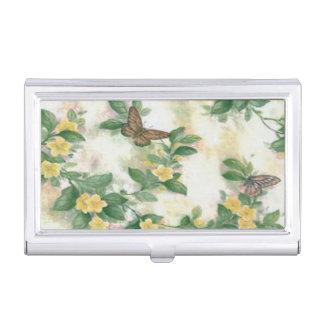 Flowers And Butterflies Business Card Holder