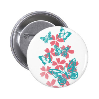 Flowers and Butterflies Button
