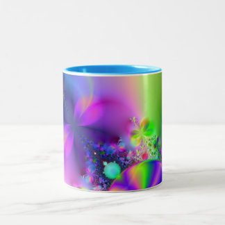 Flowers and Butterflies Fractal ~ Two-Tone Mug