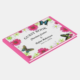 Flowers and Butterflies in Mosaic Wedding Guest Book