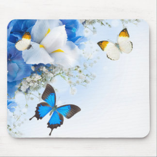 Flowers and Butterflies Mouse Pad