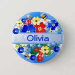 """Flowers and Butterflies ~ Name Button<br><div class=""""desc"""">Special order</div>"""