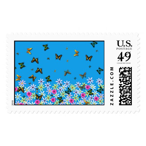flowers and butterflies postage stamps