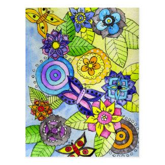 Flowers and Butterflies Postcard