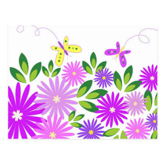 Flowers and butterflies - Postcard