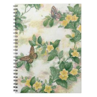 Flowers And Butterflies Spiral Notebook