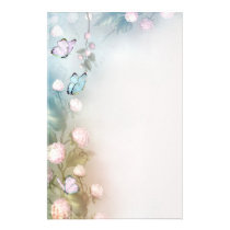 Flowers and Butterflies Stationery