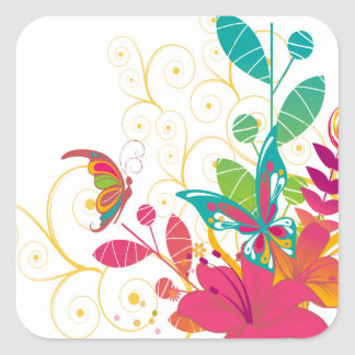 Flowers and Butterflies Square Sticker