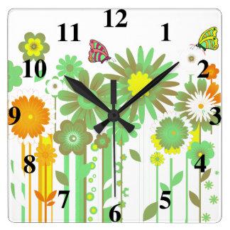 Flowers and Butterflies Wall Clock