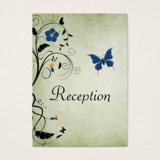 Flowers and Butterflies Wedding Reception Card