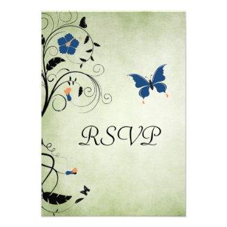 Flowers and Butterflies Wedding RSVP Card