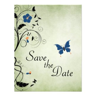 Flowers and Butterflies Wedding Save the Date Custom Announcements