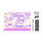 Flowers and butterfly baby shower stamp