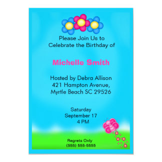 Flowers and Butterfly Birthday Invitations
