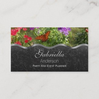 Flowers and Butterfly Business Cards