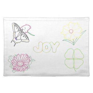 Flowers and Butterfly Joy Outline Placemats Cloth Place Mat