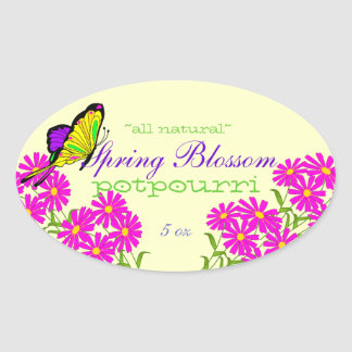 Flowers and Butterfly Potpourri Oval Sticker