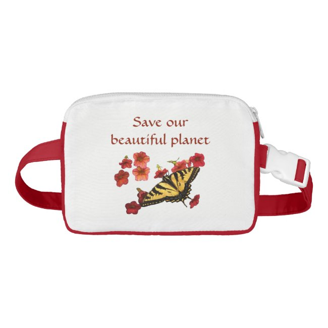 Flowers and Butterfly Save Our Planet Fanny Pack