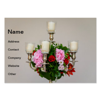 Flowers and candles centerpiece large business cards (Pack of 100)