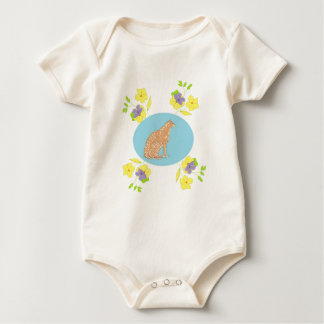 Flowers and cat baby romper