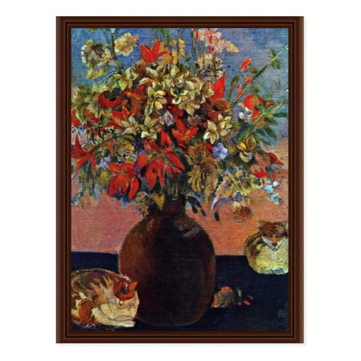 Flowers And Cats By Gauguin Paul (Best Quality) Postcard
